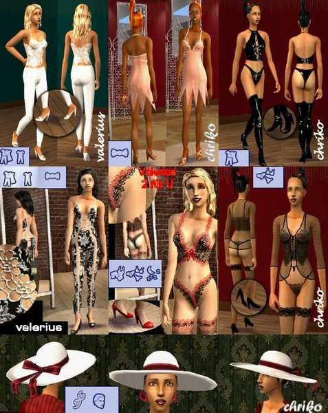 Набор эротической одежды для Sims 2.